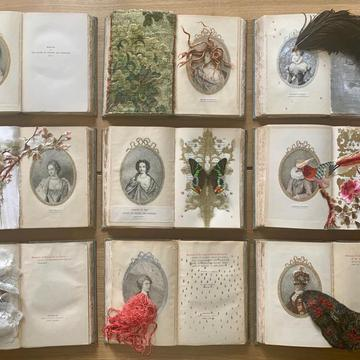 Marcela Marcuzzi Court Memoir, mixed media on rare antique books, installation. 2019.