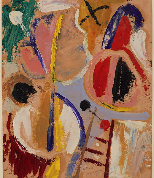 Esteban Lisa, Playing with Lines and Colors, November 7, 1955 Oil on paper 29 x 23 cm