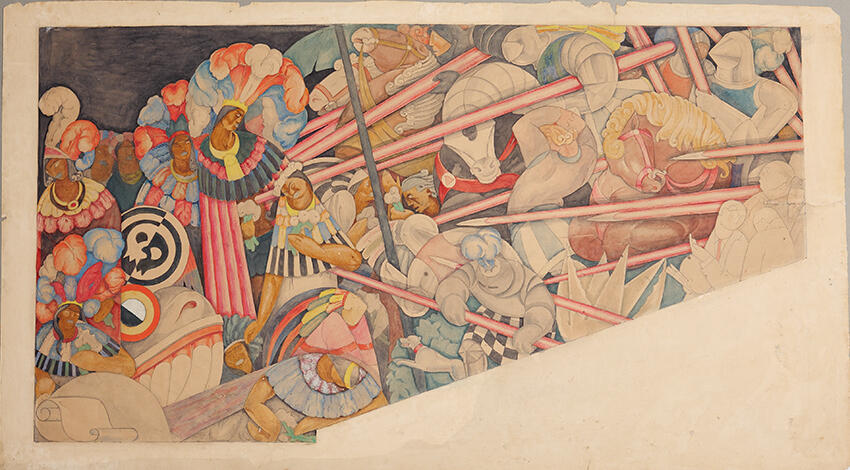 05.	Jean Charlot, detail of mural The Massacre in the Main Temple, Mexico City, 1922–1923. Fresco, 14' x 26' © The Jean Charlot Estate LLC, with permission. Photograph © Bob Schalkwijk.